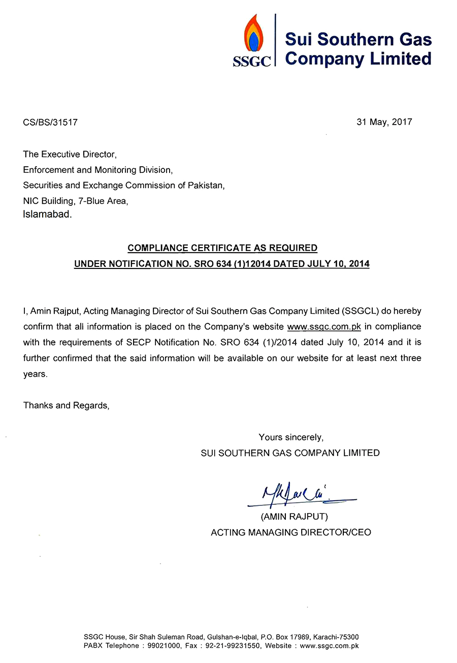 SECP Compliance Certificate | Sui Southern Gas Company Limited